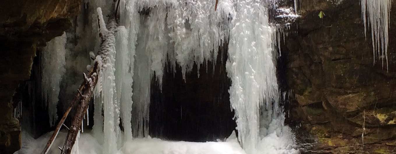 This photo, contributed by Matt West, shows Honey Creek Falls frozen over during cold weather. The waterfall is part of the Sheltowee Trace and John Muir trails in the Big South Fork NRRA.
